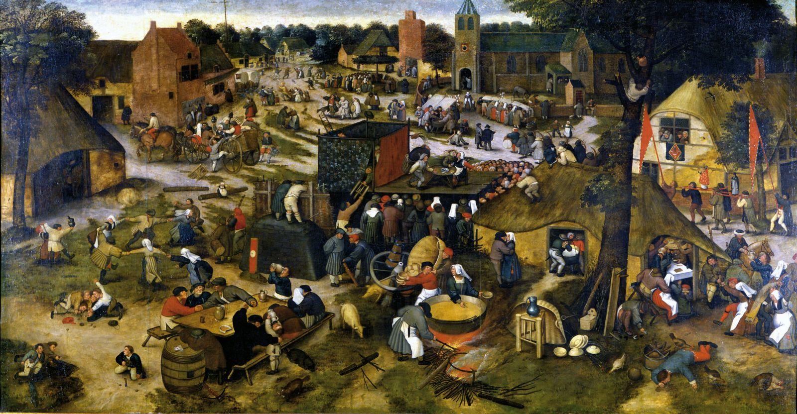 La Kermesse villageoise avec un théâtre et une procession_Pieter II Brueghel